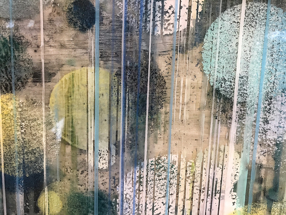 Detail of texutre and depth offered in a painting that develops between thin layers of clear resin.