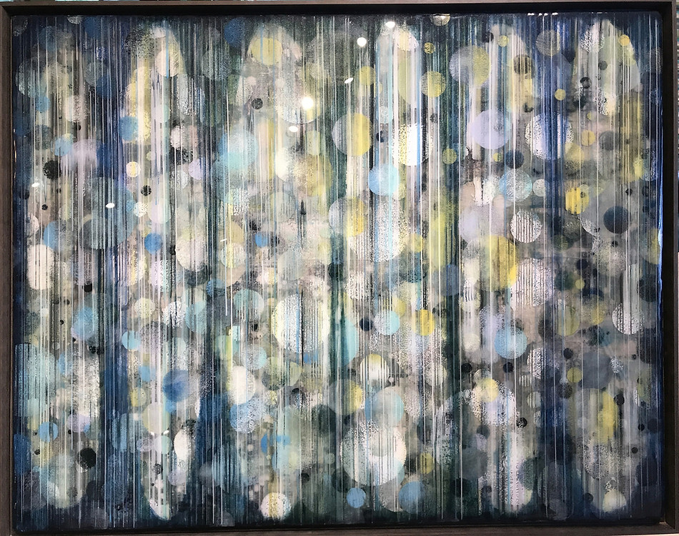 Described as 3 or 26 on various virtual show listings-  Alternating paint and clear art resin layers on Baltic birch panel.  Mounted to 50X40X1.5 inch painted wood cradle, $2800