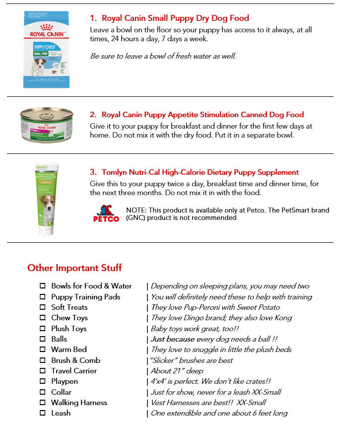 A complete shopping list of all the stuff you need to keep your puppy happy and healthy.