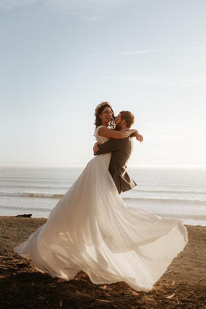 Hanna and Gavin Wedding Day Portraits by the beach in Santa Cruz California