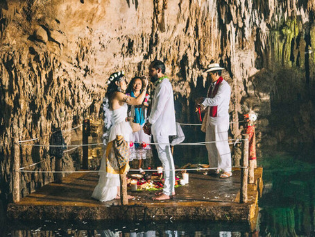 Mayan traditional wedding ceremony in a magical cave