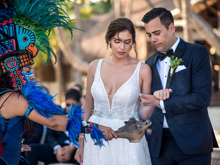 Prehispanic mayan wedding ceremony at Mahekal Beach Resort
