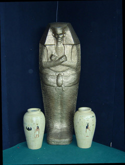 sarcophagus and pots