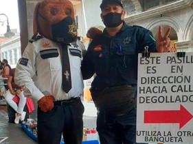 Policías vigilan Centro Histórico de Cuernavaca para evitar COVID-19