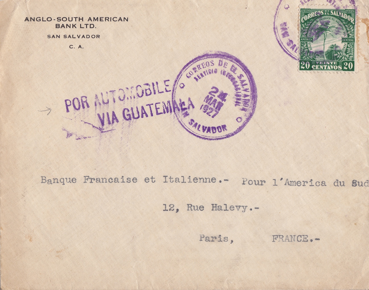 "El Salvador ""Por Automobile"" 1927"