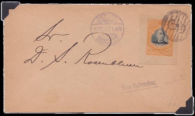 1907 | Recorte de sobre de Escalón usado como estampilla