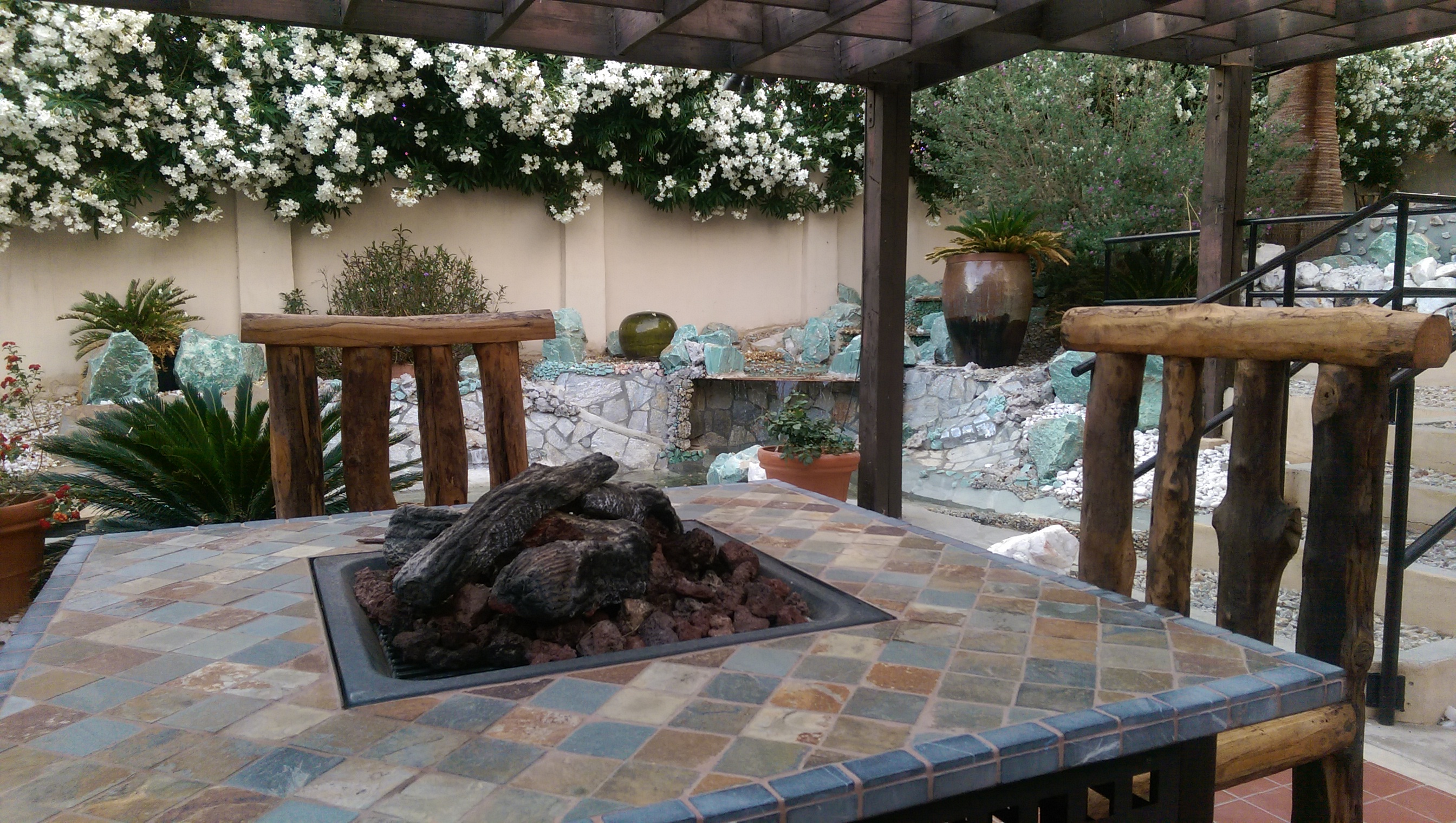 Sitting Area, Fire Pit & Waterfa