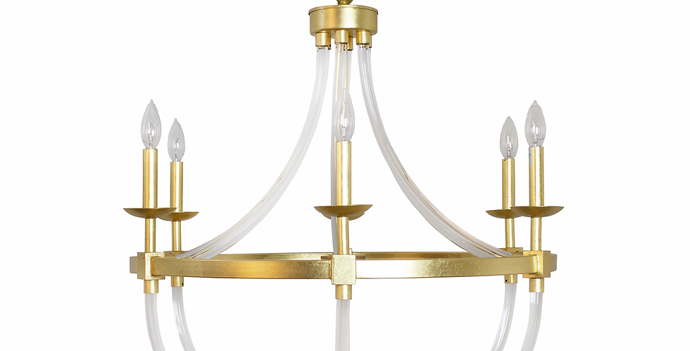 Acrylic Gold Leaf  Accent Chandelier