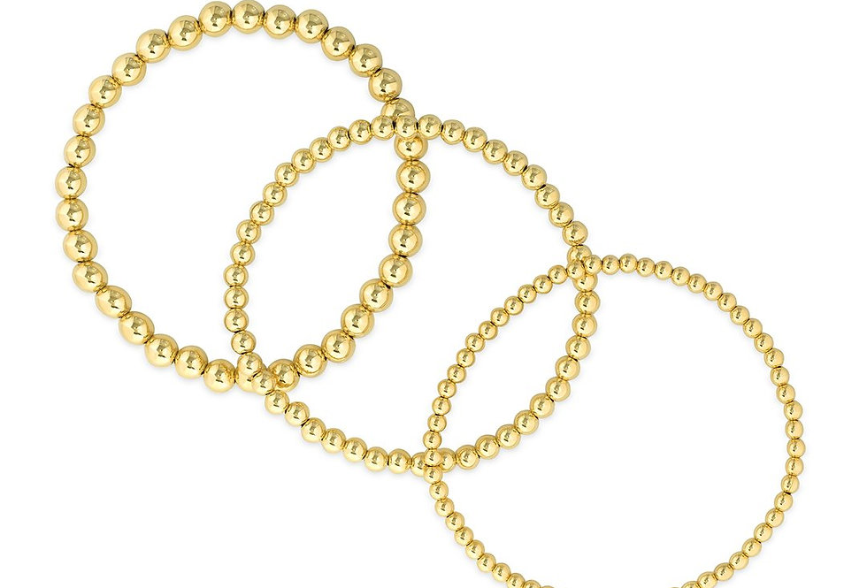 Gold Bead Classic Stretch Bracelet - 3MM