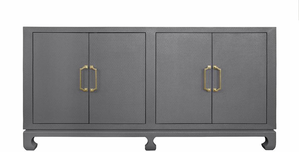 Grass Cloth Cabinet - Grey