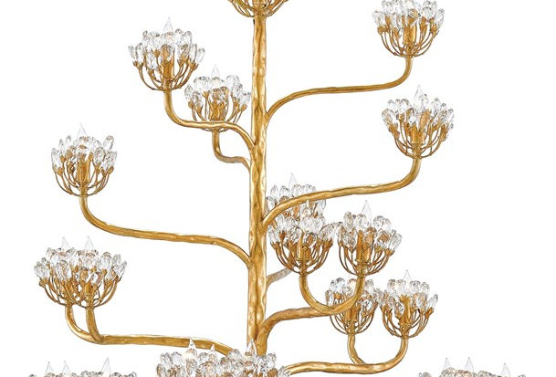 Gold Floral Sculpture Chandelier