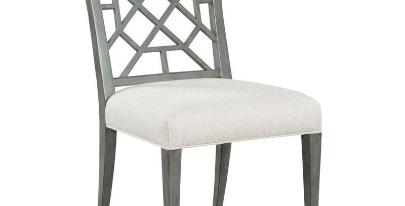 Grey  Stained  Fretwork  Dining Chair