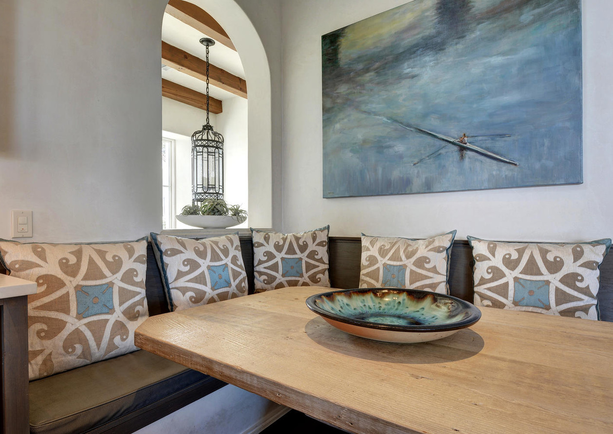 Built-in banquette with commissioned art