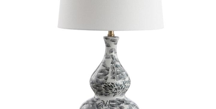 Black and White Chinoiserie Lamp - Pair