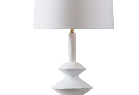 Paper Maché Inspired White Table Lamp