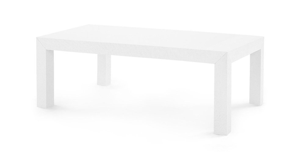 Grasscloth Parsons Coffee Table White