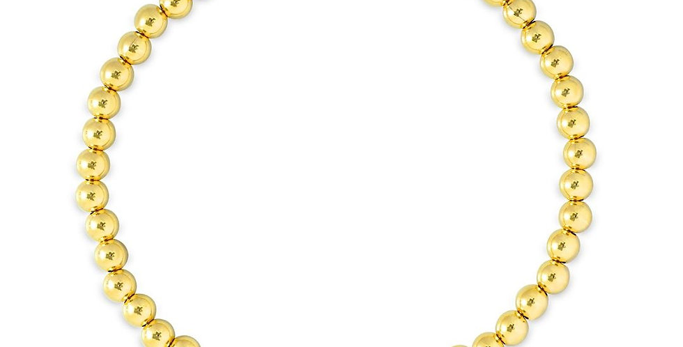 Gold  Bead  Classic Stretch Bracelet -4mm