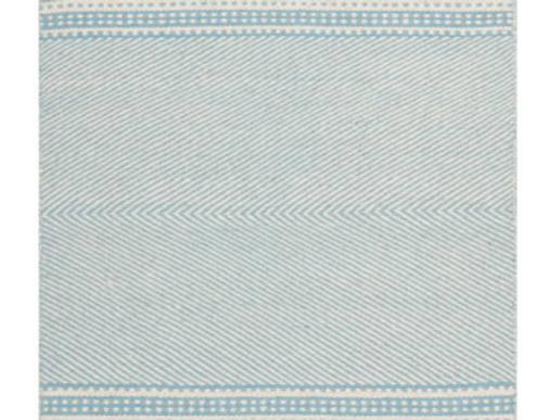 Light Blue and White Flat Weave Rug