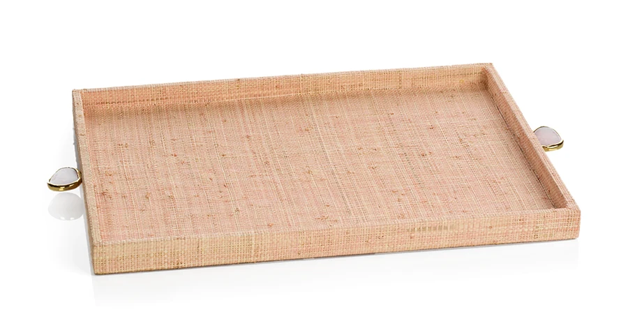 Raffia Palm Tray with Stone Accent