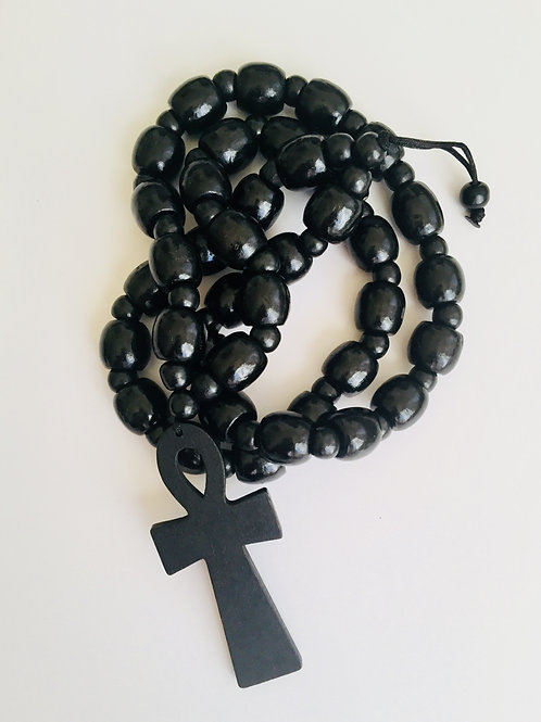 Wooden Beads w/ Wooden Pendant)