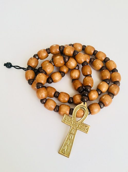Wooden Beads w/ Metal Pendant)