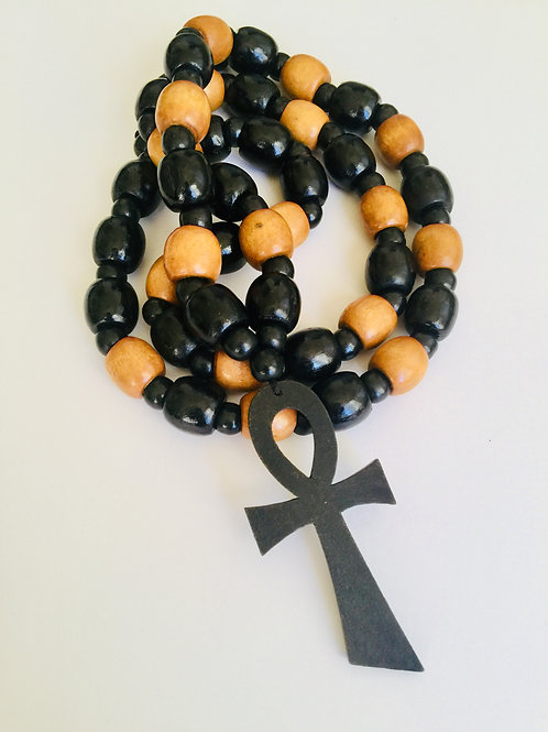 Wooden (multicolored) Beads w/ Wooden Pendant)
