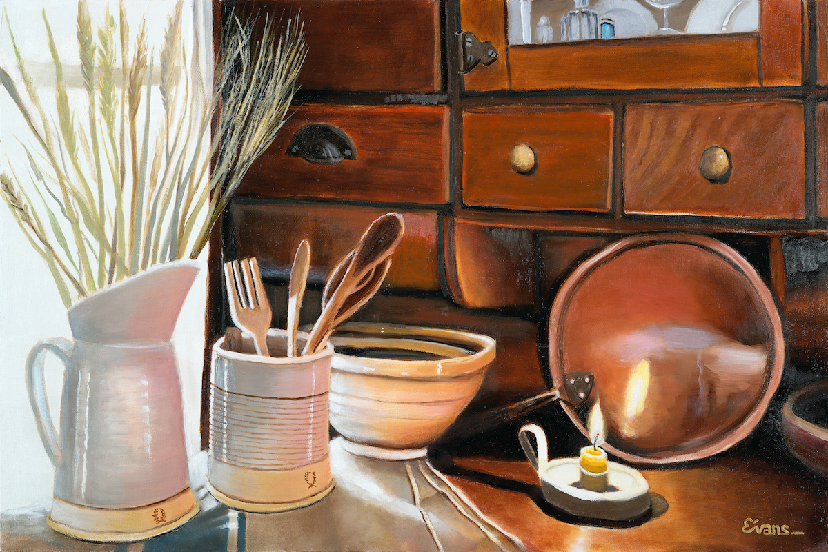 "Pottery Hutch 20"" x 30"" Oil Retail $5,700  Online $4,000"