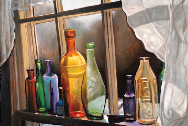 "Old Bottles and Lace 24"" x 36"" Oil Retail $6,700  Online $4,700"