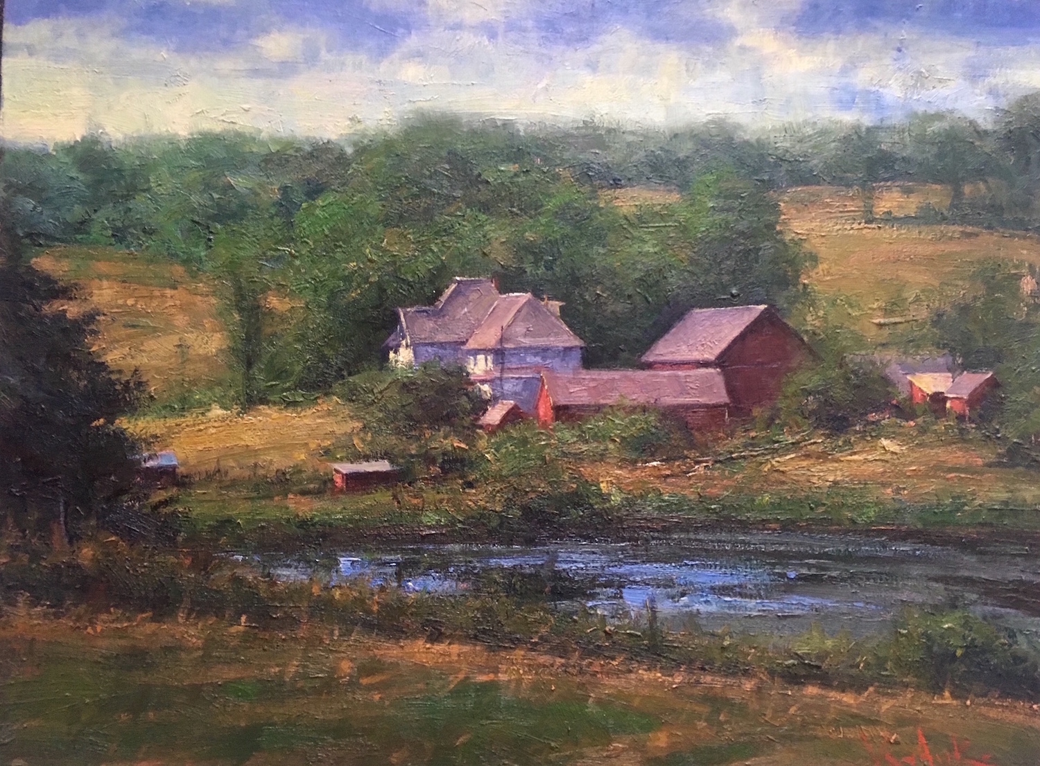 Farm Pond 24_ x 30_ Oil $4,600