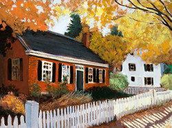 """Fall Cottage 12"""" x 16"""" Oil  Retail $2,000  Online $1,600"""