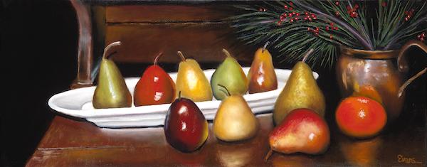 "Festive Pears 12"" x 30"" Oil  Retail $4,600  Online $3,200"
