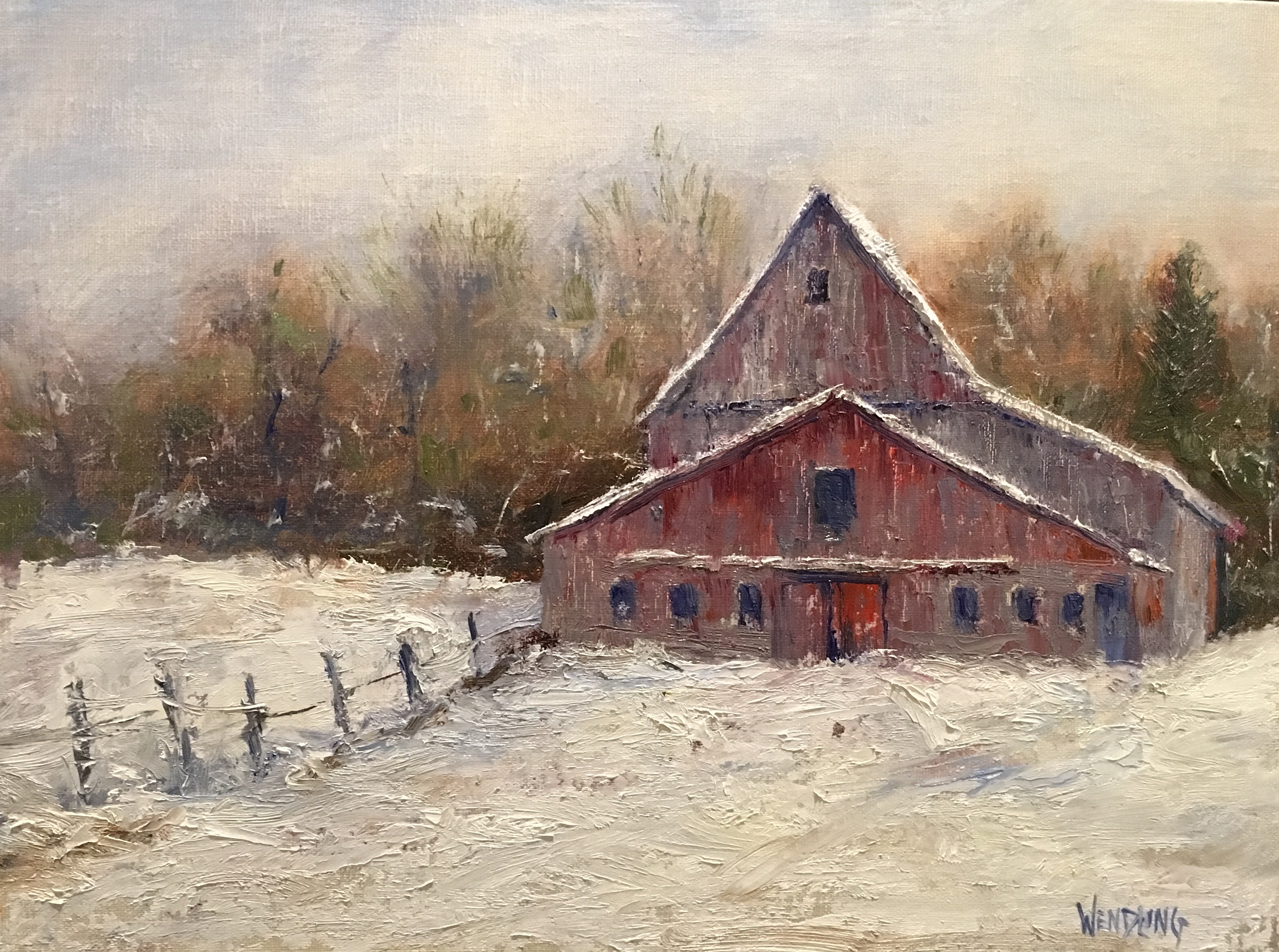 "January in the Country 9"" x 12""  Oil"