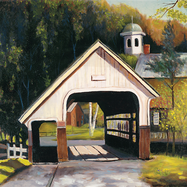 "Village Bridge 24"" x 24"" Oil Retail $5,300  Online $3,700"