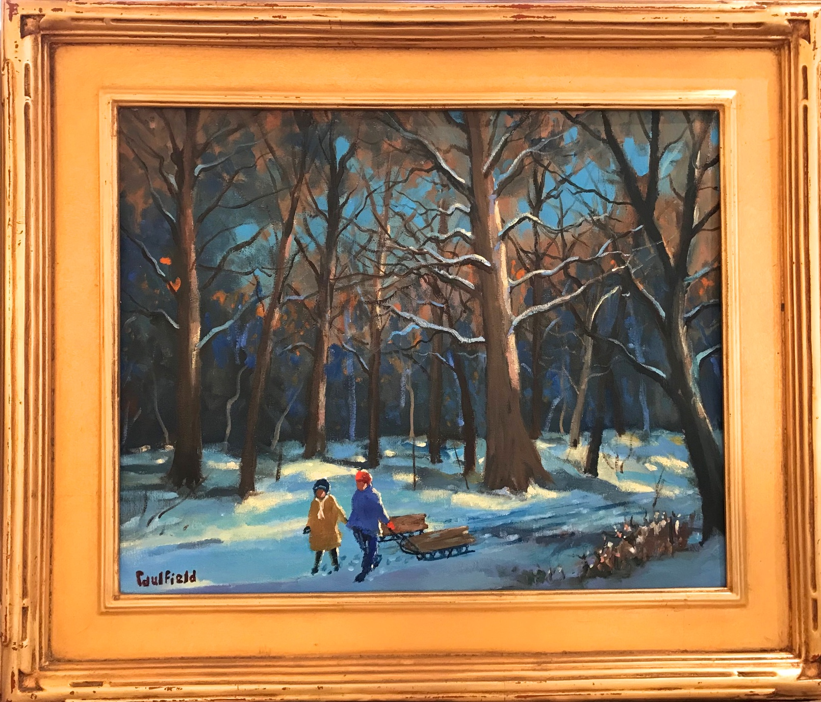 Sledding in the Woods 16x20 $6500