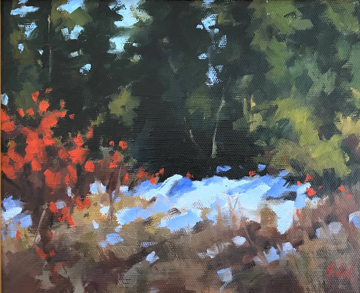 SDL Winter Red  8_ x 10_ Oil $525