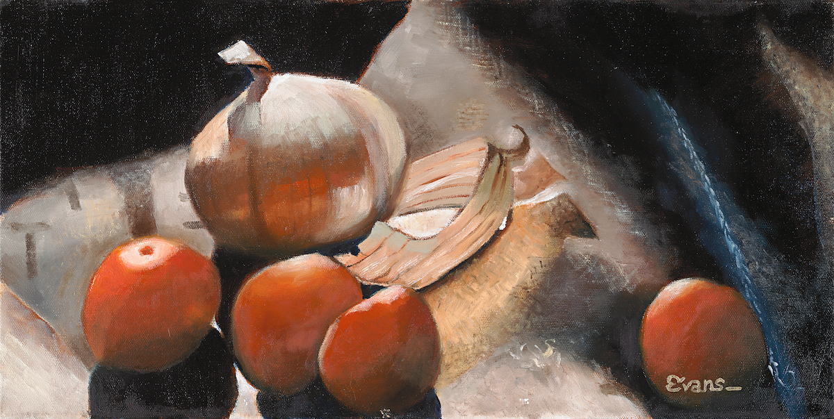 "Onions and Burlap 10"" x 20"" Oil Retail $3,100  Online $2,500"