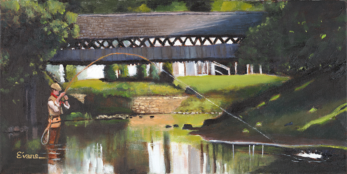 "Fishing The Ottauquechee 12"" x 24"" Oil Retail $3,100  Online $2,200"