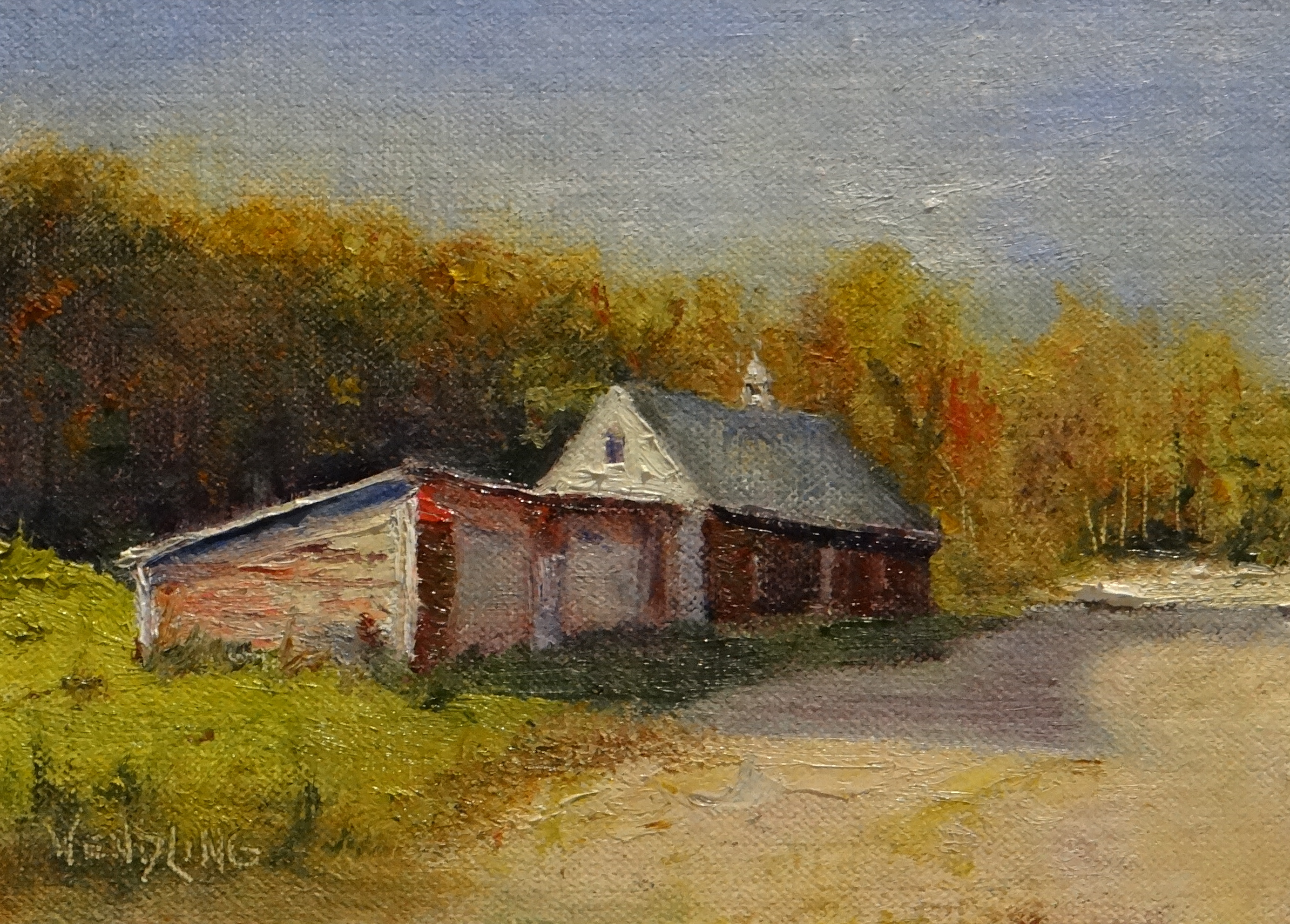 "Autumn Road 5"" x7"" Oil $450"