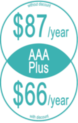 "Informative graphic in yellow circles, reads, ""AAA Plus Without discount: $87/year; With Discount: $66/year"