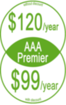 "Informative graphic in yellow circles, reads, ""AAA Premier Without discount: $120/year; With Discount: $99/year"