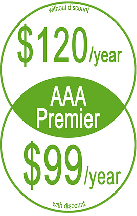"""Informative graphic in yellow circles, reads, """"AAA Premier Without discount: $120/year; With Discount: $99/year"""