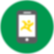 Decorative vector image of a smart phone with the Allpoint logo in yellow