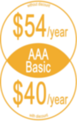 "Informative graphic in yellow circles, reads, ""AAA Basic Without discount: $54/year; With Discount: $40/year"