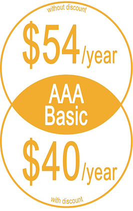 """Informative graphic in yellow circles, reads, """"AAA Basic Without discount: $54/year; With Discount: $40/year"""