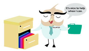 """Decorative Vector Image of Mascot Bertie the BOFCU Owl Filing a Folder in a File Cabinet, there is a volunteer pin on his shirt, Text bubble reads, """"It's nice to help when I can."""""""