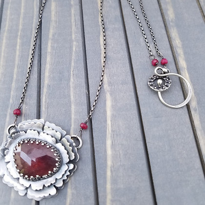 Sterling Silver Ruby Necklace, One Of A Kind Handmade