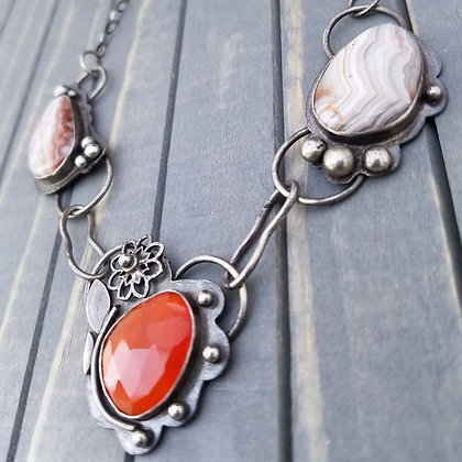Sterling Silver Agate and Carnelian Necklace, One Of A Kind Handmade Necklace