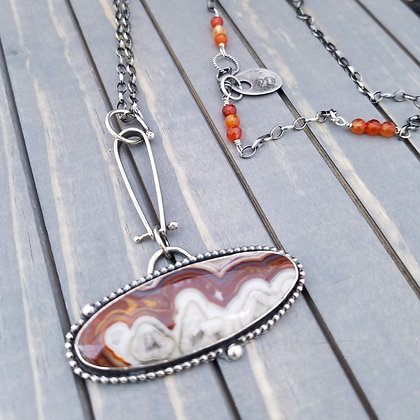 Sterling Silver Agate Necklace, One Of A Kind Handmade