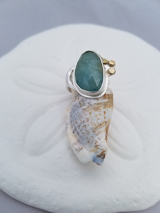 Aquamarine Ring 18K Gold and Sterling Silver