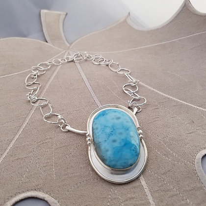 Sterling Silver Larimar Necklace, One Of A Kind Handmade